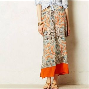 Anthropologie Silk maxi skirt size small